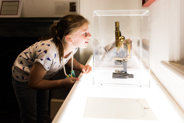 Young child peering at a microscope in a case