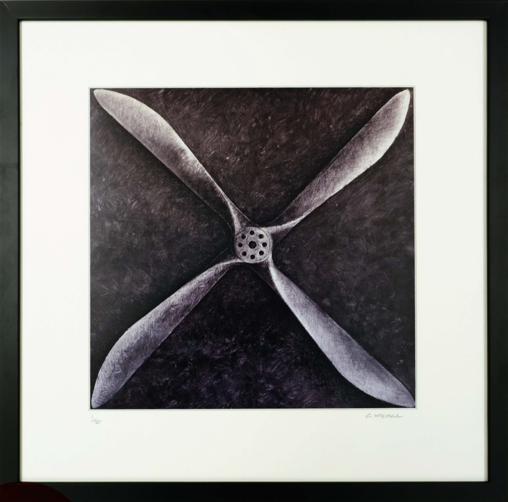 An image of a limited edition framed photograph of an original Gregg Mitchell artowrk of a propellor from the Smith Brothers Vickers Vimy aircraft