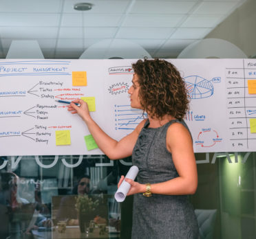 Woman standing at flow chart on large paper with sticky notes.