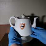 Two hands with blue gloves holding a small teapot