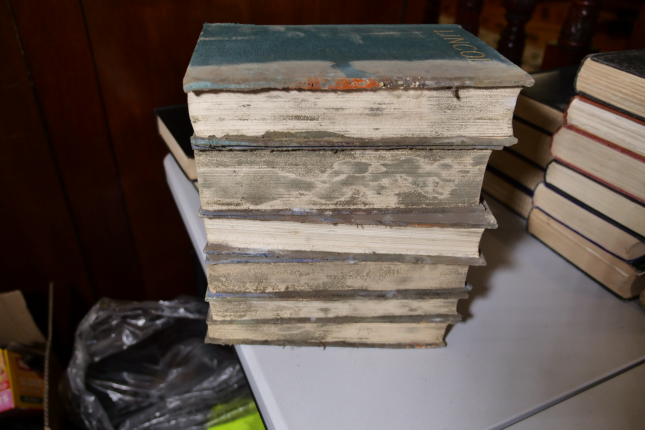 stack of books with mould covering front edges