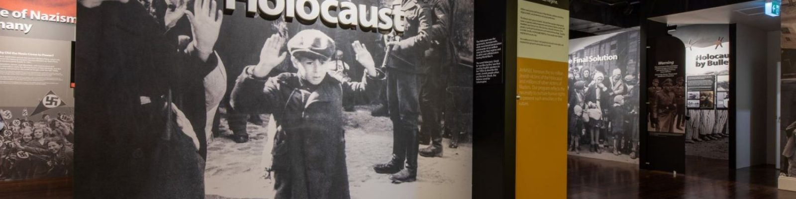 Large image of a young boy with hands raised under a sign reading 'The Holocaust'